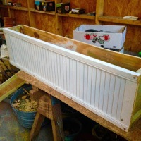 DIY garden bench, window boxes, and shutters for the garden shed