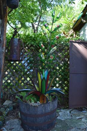 """Another colorful metal agave. Though I don't really need to say """"colorful"""" about her garden. It's a given."""