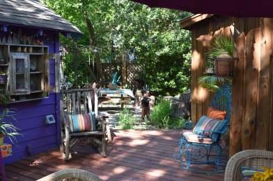 Step from the El Jardin Encatador down into La Lucinda Cantina.