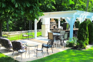 In Niagara County, a patio above a creek and outdoor kitchen - but no house nearby! (Gasport, NY)