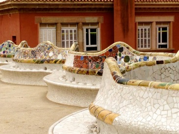 Antoni Gaudi mosaic-tiled wavy bench in Guell Parc, Barcelona.