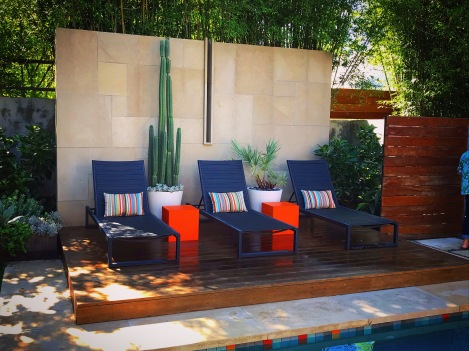 Sleek and sophisticated poolside seats in Austin, TX.