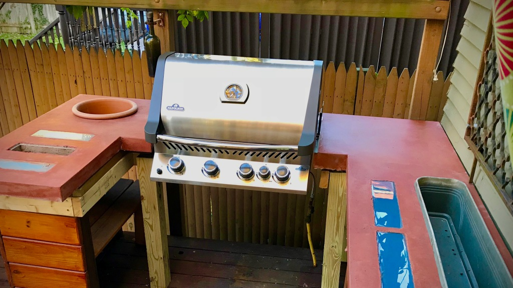 outdoor concrete counter top with grill