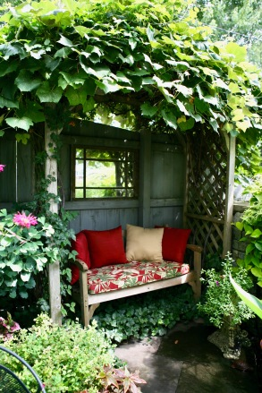 A vine covered arbor seat. The mirror adds light to an otherwise deep shade wall above. (Buffalo)