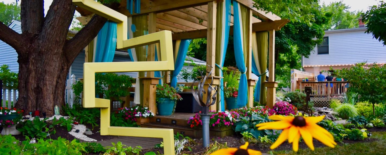 outdoor cutains pergola sculpture garden