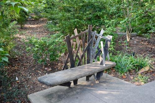 An artsy bench in the Atlanta Botanical Garden.