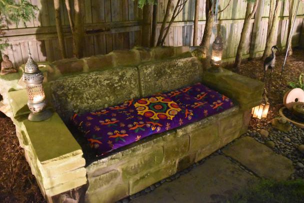 Stone bench in Tonawanda, NY