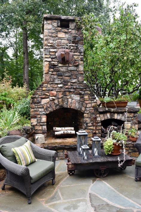 Atlanta, GA, big chunky furniture around a kick-ass fireplace.