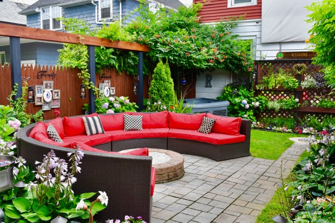 One of my favorites, a red circular sofa surrounding a fire pit in Tonawanda, NY.