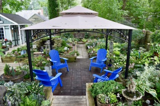 A hill of a garden has a terraced platform for seating.