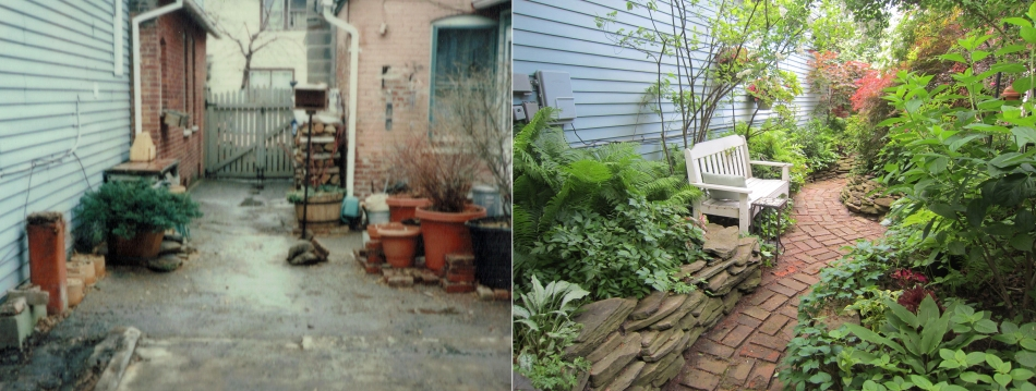 before and after garden buffalo ellie cottage district sumer street towrd front