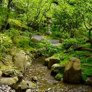 Nitobe Memorial Garden UBC Botanical Garden path lantern sculpture