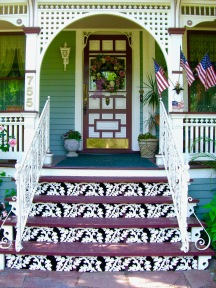 These risers were once wrought iron uprights holding up a porch roof. From a Buffalo garden.