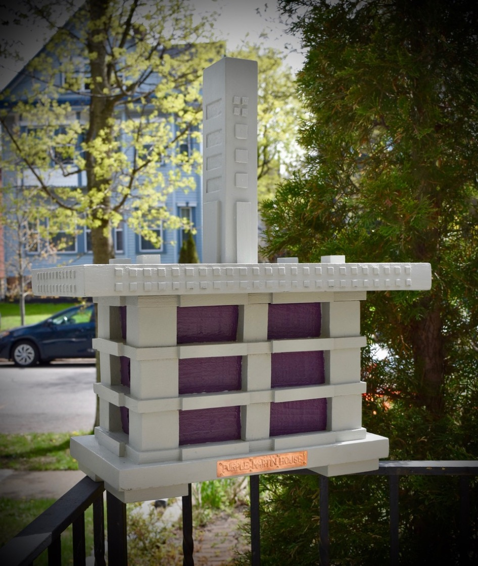 The Martin House, modeled after Frank Lloyd Wright's Martin House finials. By Arlan Peters.